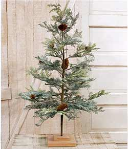 Icy Cedar Tree with Pine Cones - 36 inches