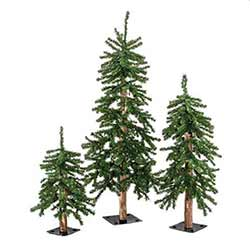 Pre-Lit Alpine Christmas Trees (Set of 3)