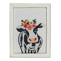 Cow with Flowers Wall Art