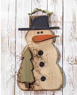 Primitive Snowman Wall Hanger with Tree