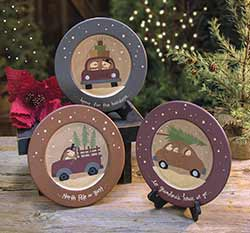 Snowmen in Cars Plates (Set of 3)