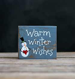 Warm Winter Wishes Sign with Snowman