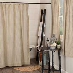 Sawyer Mill Charcoal Ticking Stripe Shower Curtain