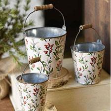 Primitive Christmas Buckets, Boxes, Baskets