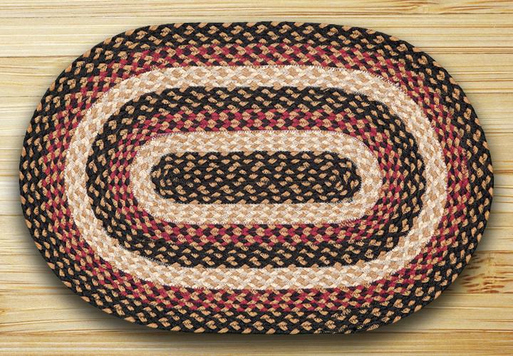 Burgundy, Black, & Dijon Braided Rug, by Capitol Earth Rugs