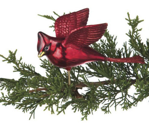 Flying Cardinal Clip Ornament, by Seasons of Cannon Falls