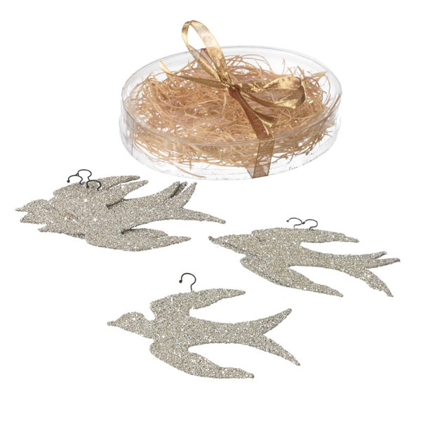 Silver Glitter Bird Ornament, by Seasons of Cannon Falls
