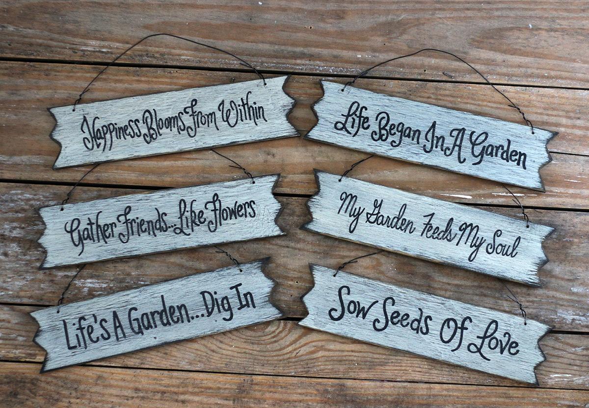 Primitive Garden Wood Signs