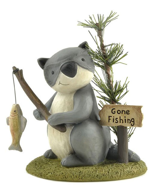 Gone Fishing Raccoon with Fish, by Blossom Bucket