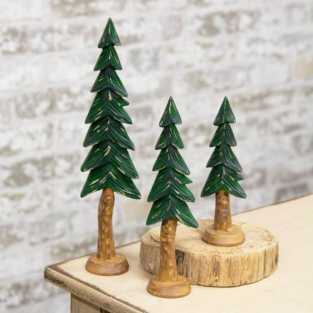 Carved Resin Alpine Trees