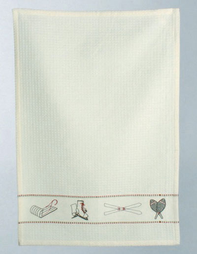 Chalet Embroidered Waffle Weave Dishtowel, by Tag