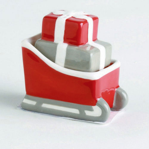 Sled and Package Salt and Pepper Shaker Set, by Tag