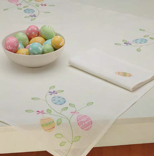 Easter Egg Embroidered Tablecloth