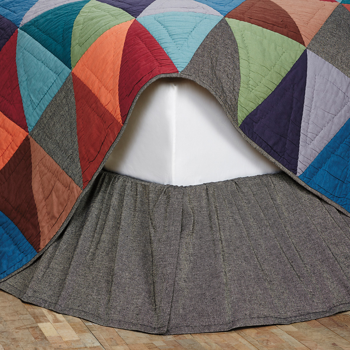Black Chambray Bed Skirt, by VHC Brands