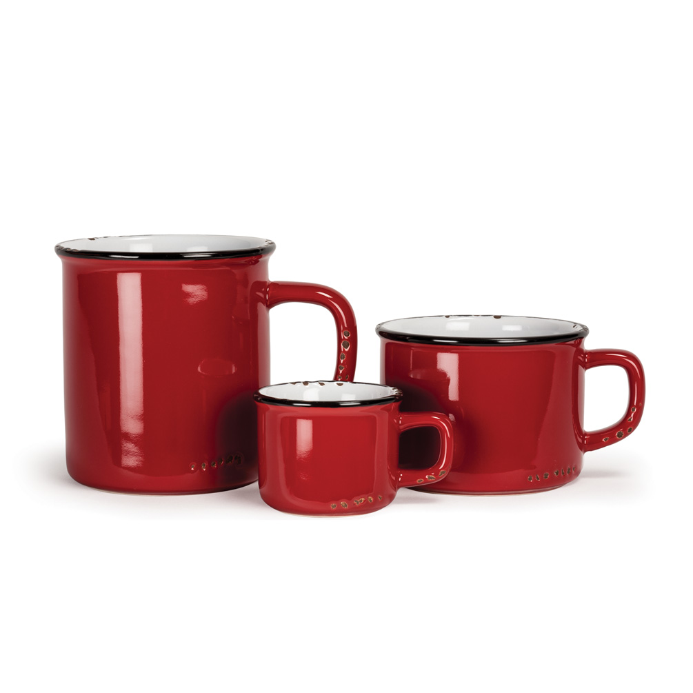 Red Stoneware Enamel Mugs
