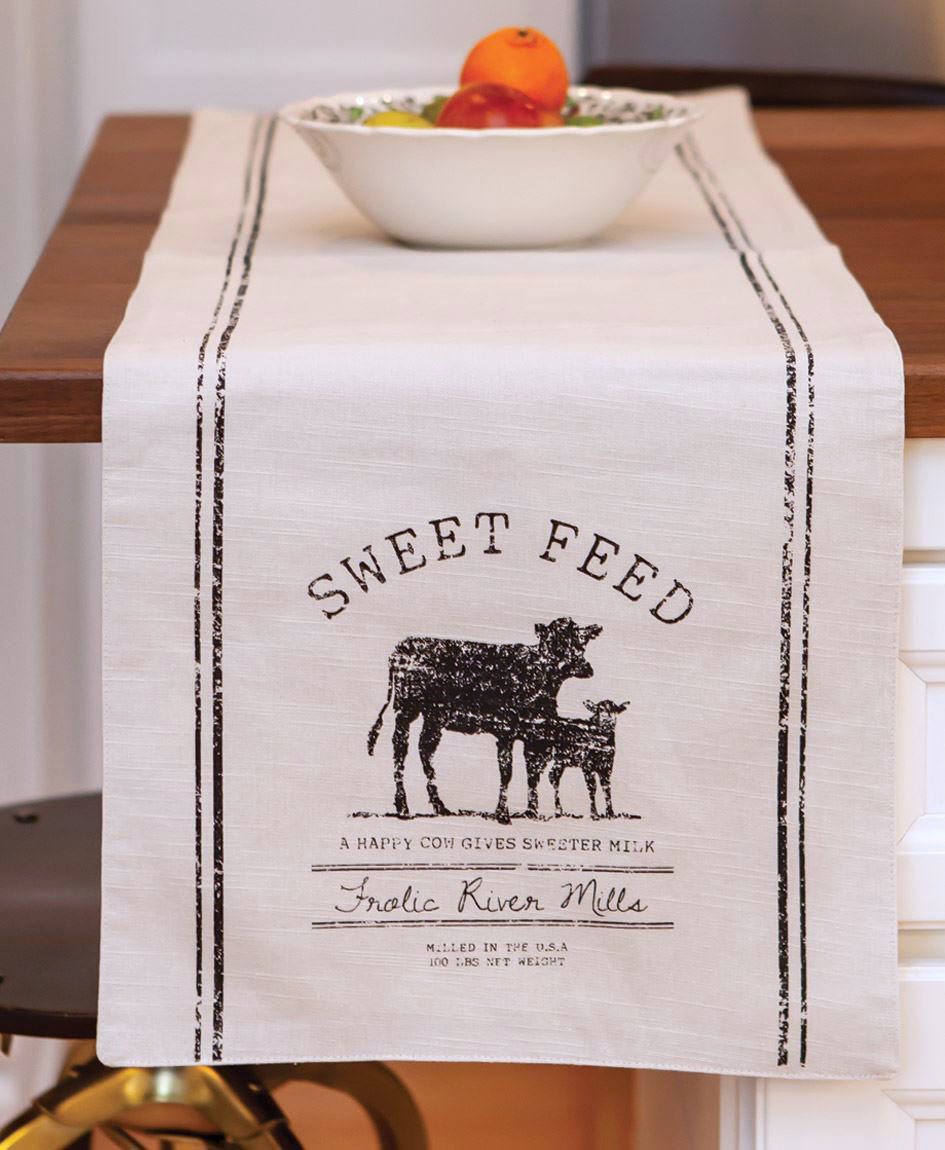 Sweet Feed Cow 48 inch Table Runner