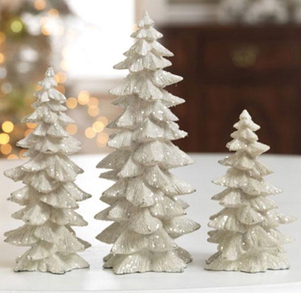 White Glittered Tree, by Raz Imports