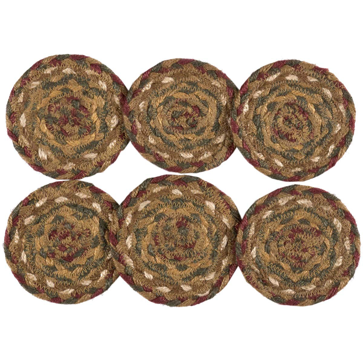 TEA CABIN Jute Oval Placemat Set//6 Braided Primitive Rustic Green//Crimson VHC