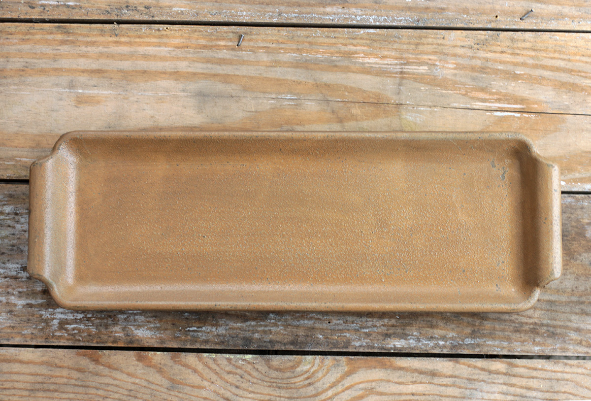 New Primitive Rustic Farmhouse CANDLE TRAY Mustard Painted Wood Dish Bowl Pan