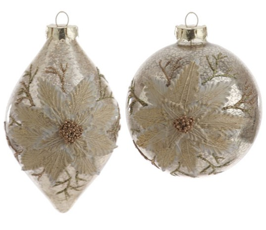 Champagne Antiqued Ornament, by Raz Imports.