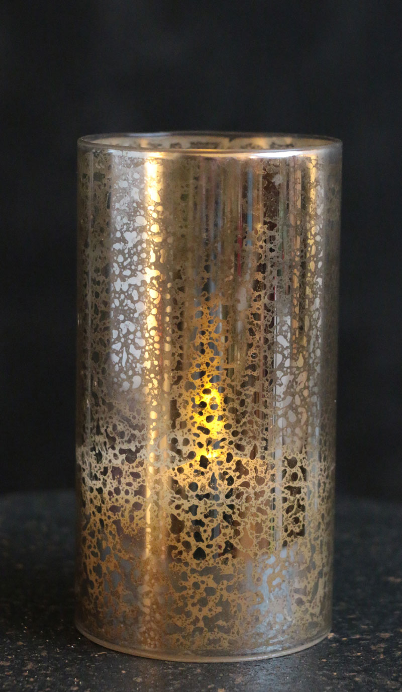 Antiqued Silver Glass Hurricane LED Pillar Candle - The