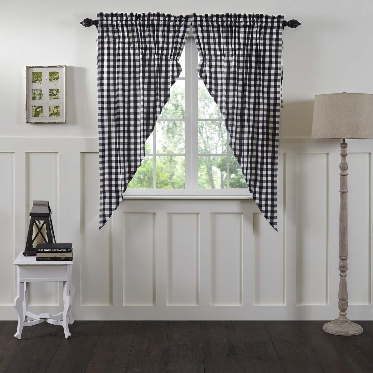 Valance 60 inch Buffalo Check Black White Country Curtain VHC Brands Annie