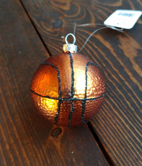 glass basketball ornament by raz imports