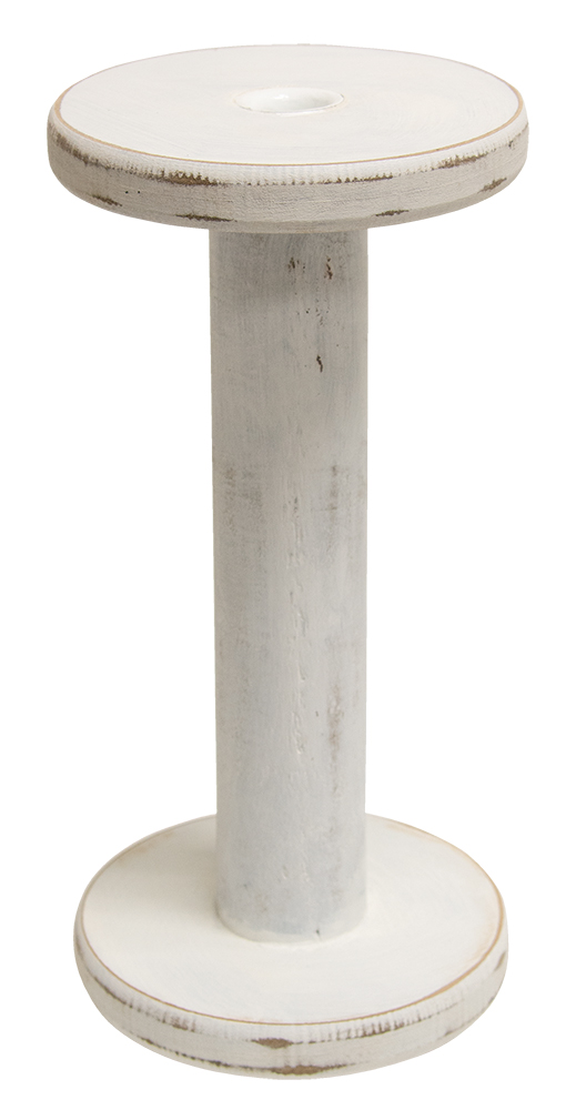 Large Antique White Wooden Candle Holder