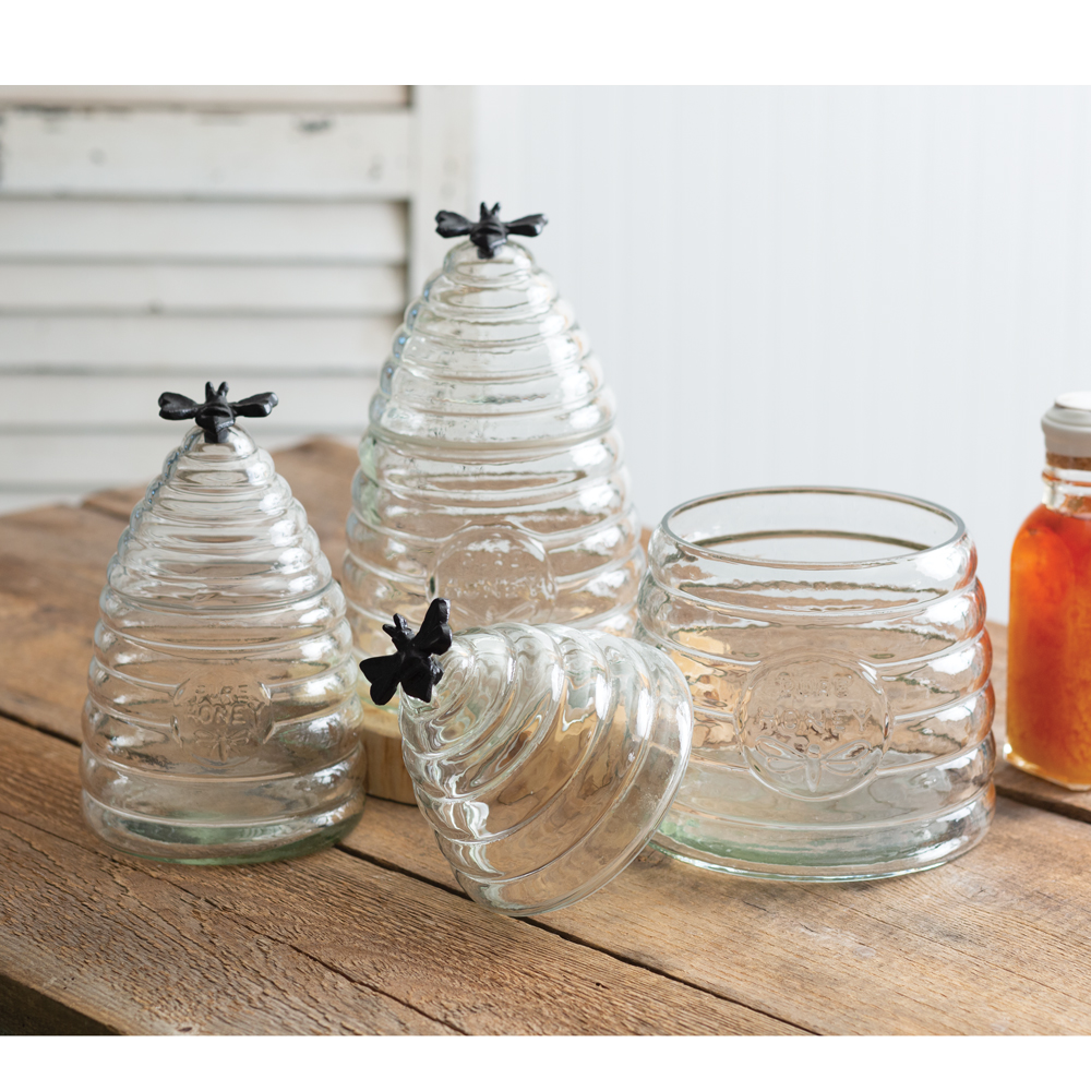Honey Bee Hive Glass Canisters