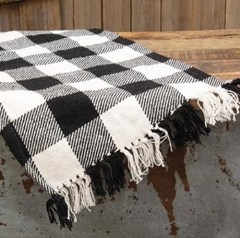 cwi pine creek primitives country primitive farmhouse kitchen table tabletop table runner dining room home decor runners tablerunner tablerunners black and white buffalo check checked checks long 56 inch