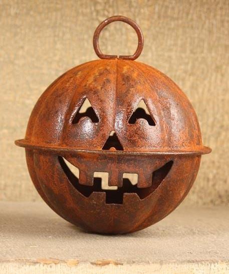 "Set//3 Primitive Rusty Jingle Bells Pumpkin Halloween Jack-O-Lantern 2.5/"" 66mm"