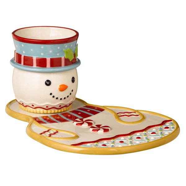 Sweet Tidings Snowman Plate & Cocoa Cup, by Grasslands Road