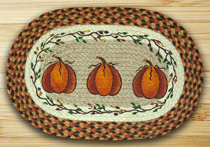 Harvest Pumpkin Braided Placemat, by Capitol Earth Rugs