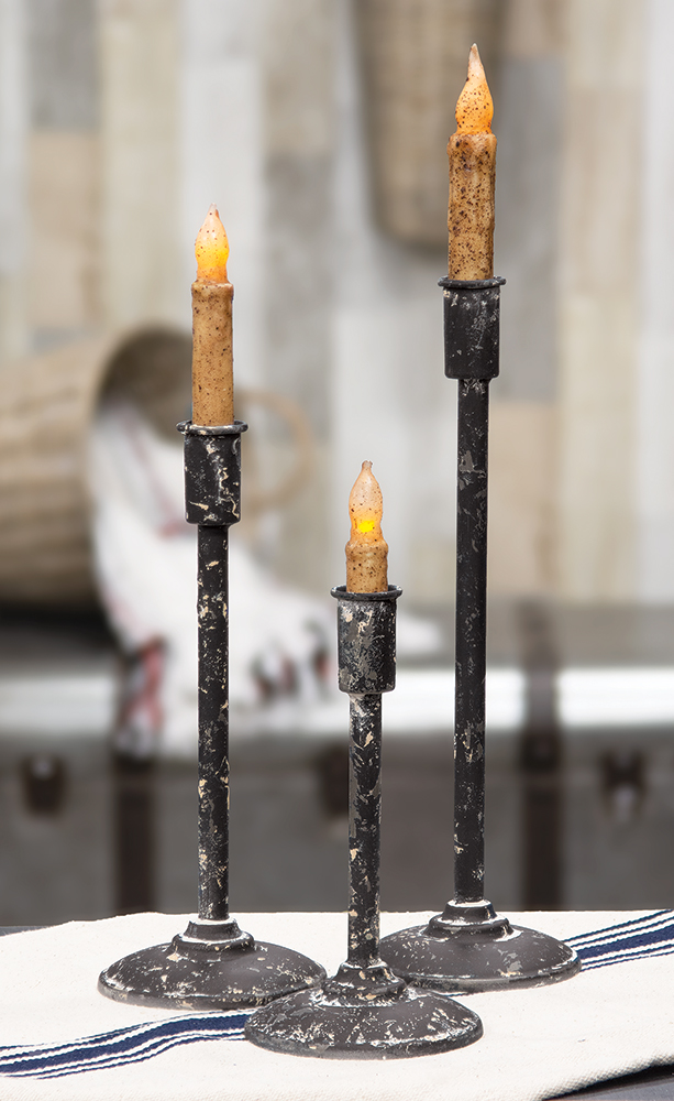 Distressed Black Taper Candle Holders