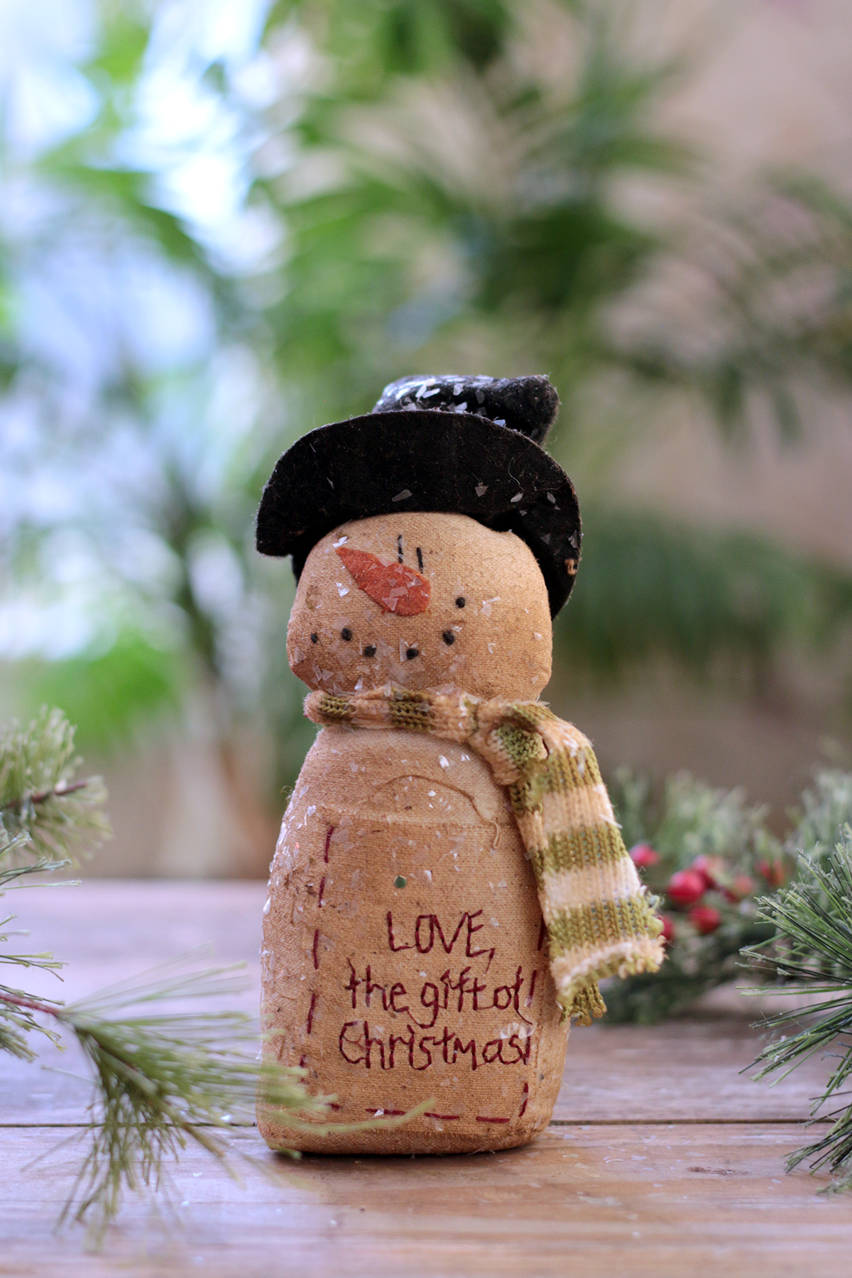 Primitive Grungy Plush Snowman Star Ornament