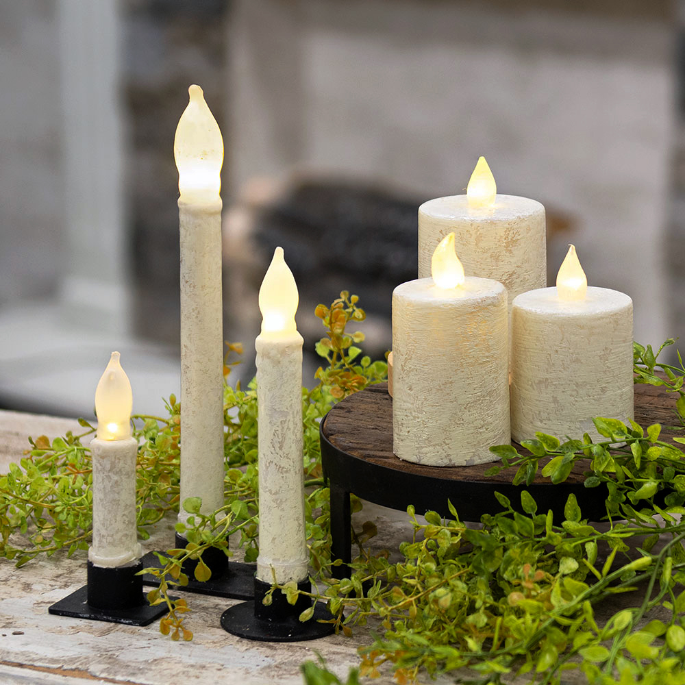 Rustic White Timer Candles