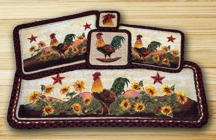 36 inch Morning Rooster Wicker Weave Tablerunner, by Capitol Earth Rugs