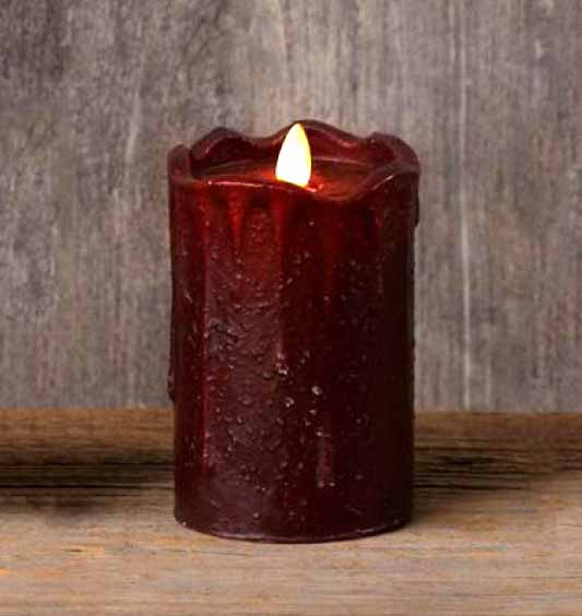 5 Inch Burgundy Primitive Flameless Pillar Candle The