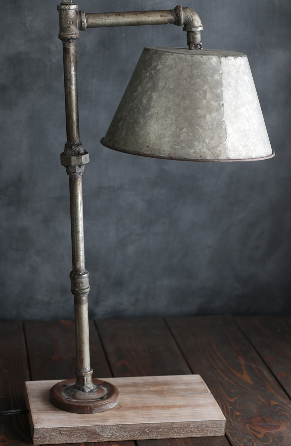 Industrial Pipe Table Lamp with Galvanized Shade - The Weed Patch