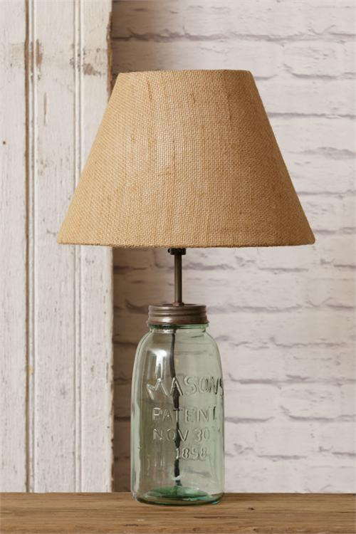 Super Green Mason Jar Table Lamp with Burlap Shade - The Weed Patch AK16