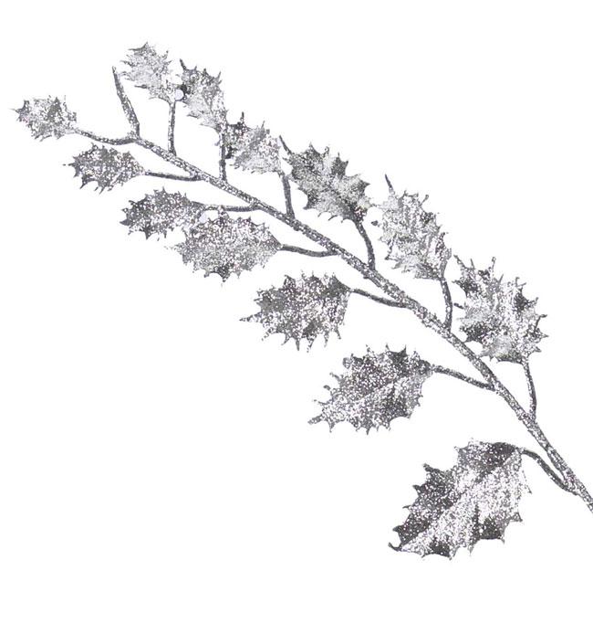 Silver Glitter Leaf Pick