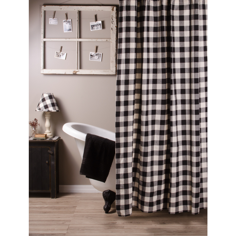 Buffalo Check Black Shower Curtain
