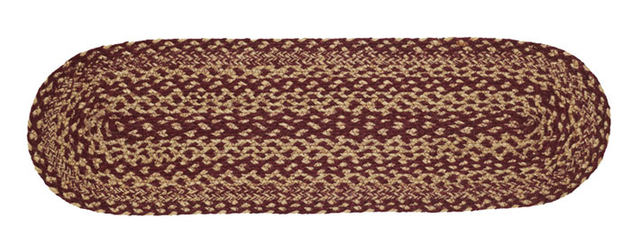 Burgundy and Tan Jute Stair Tread, by VHC Brands