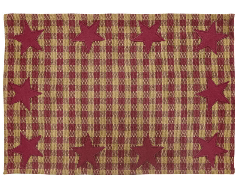Burgundy Star Placemats, by VHC Brands