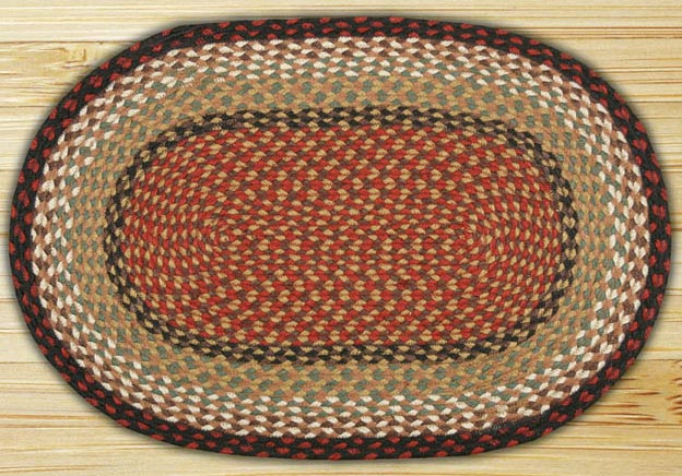 Burgundy / Mustard Oval Jute Rug, by Capitol Earth Rugs.
