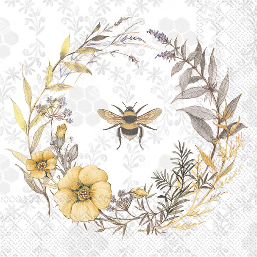 Bee Wildflower Wreath Paper Luncheon Napkins
