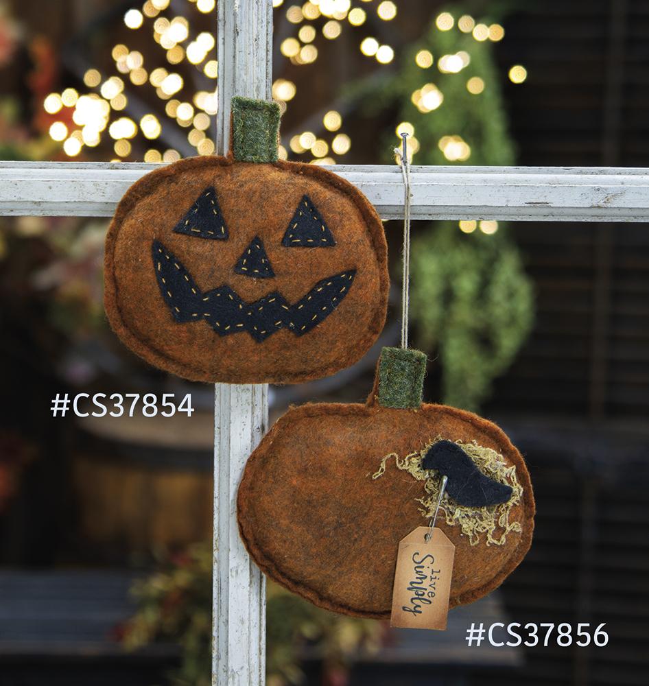 Pumpkin & Crow Felt Ornament