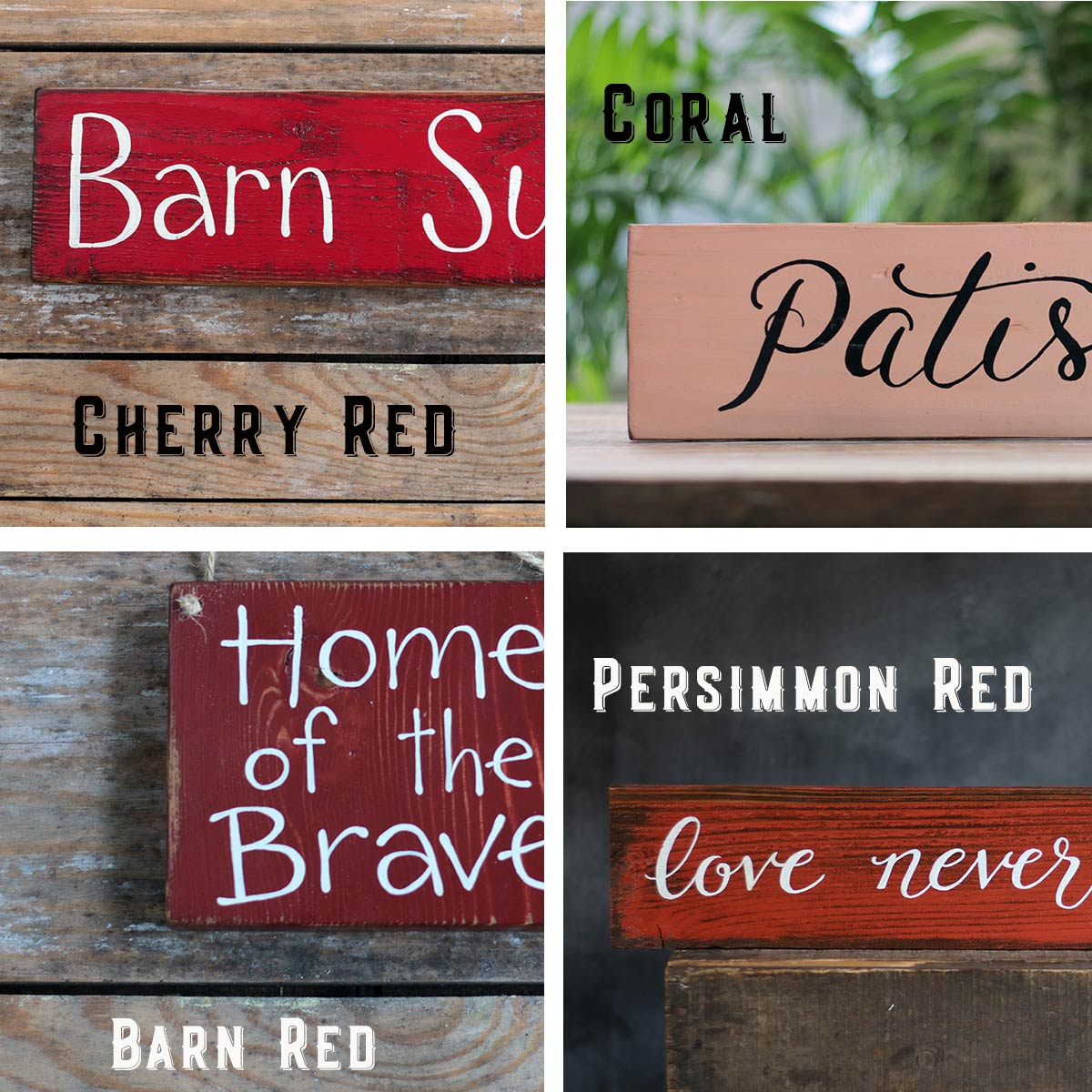 Colors - Cherry, Coral, Barn Red, Persimmon