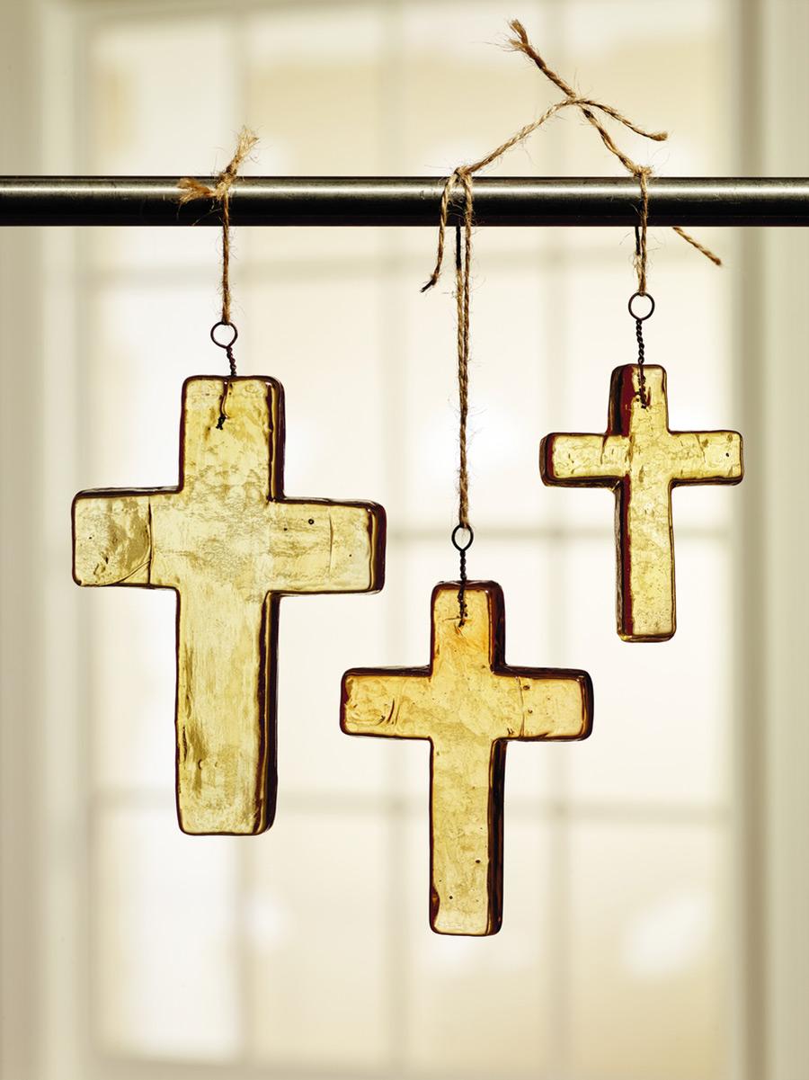 Amber Glass Cross Ornaments