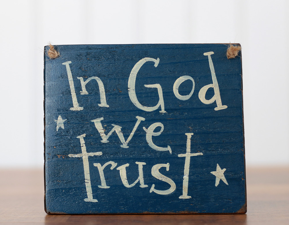 In God We Trust Small Wooden Sign, by Our Backyard Studio in Mill ...